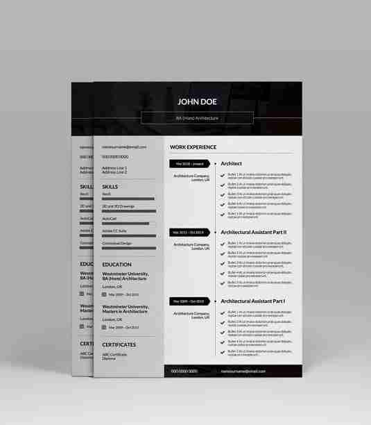 Modern, black and white CV template