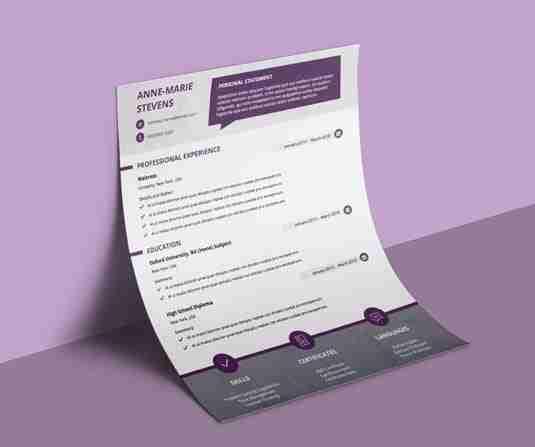 Modern, plum and white CV template.