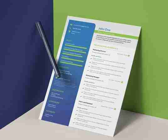 Modern, blue, green and white CV template.