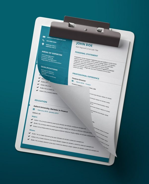 Modern, teal and white, 2 page PDF template. A resume format download.