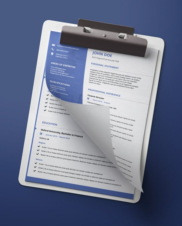 Modern blue and white double page pdf resume template