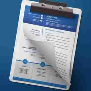 A blue and white, modern double page pdf resume template in a cv format for job applications.