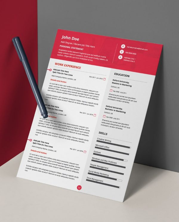 Modern, red and white, double page CV template PDF.