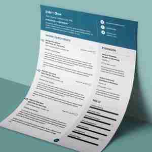 Modern, teal and white, double page professional resume template.