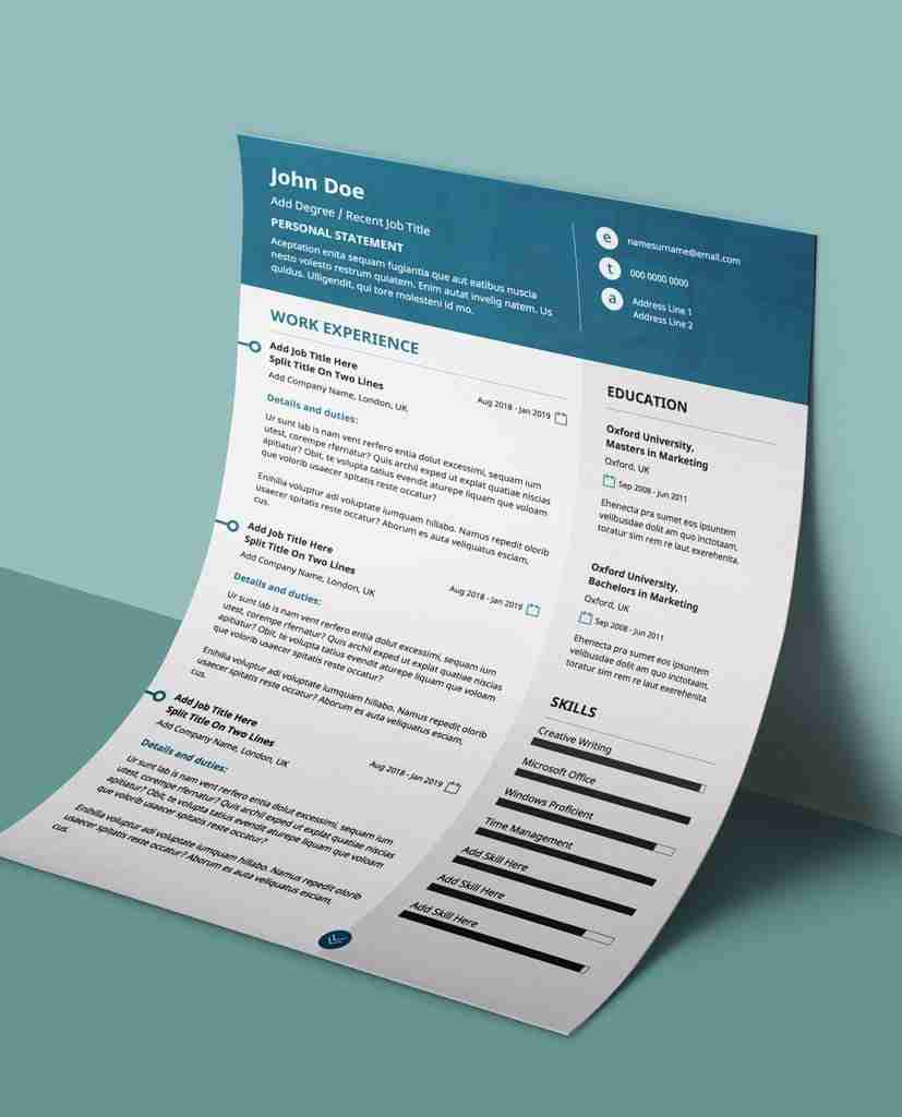 Professional Resume Template New Teal Modern 2 Page Editable Pdf