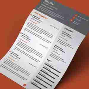 Grey and orange, modern, double page cv template design.