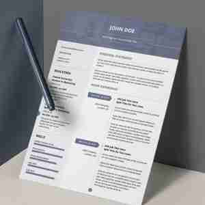 Airforce blue, double page minimalist resume template.