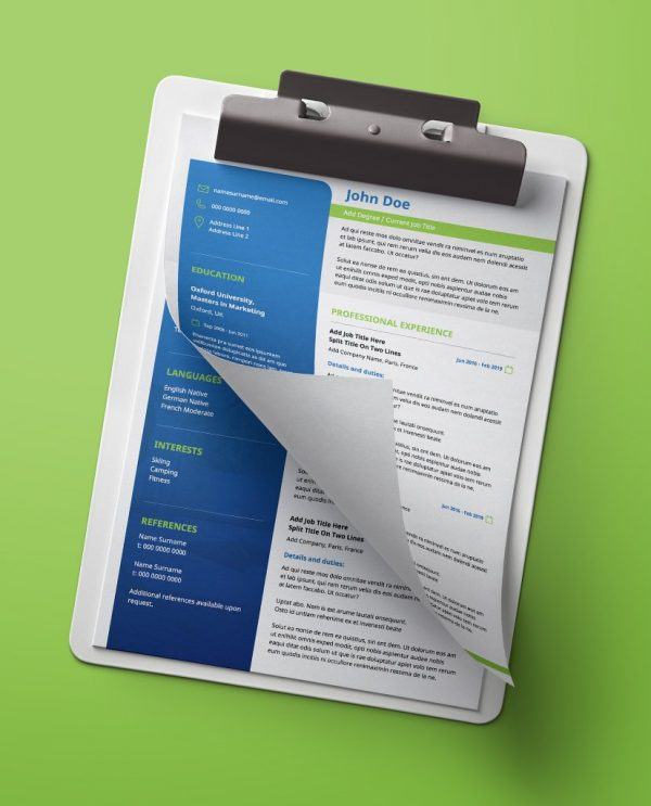 Modern, green and blue, 2 page creative resume design.