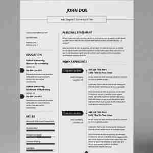 Black and white, double page, basic and simple resume PDF template.