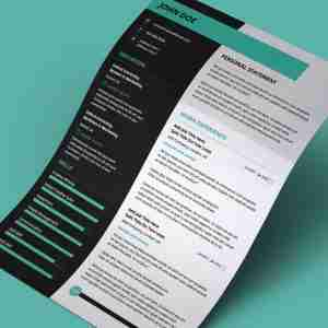 Bright, teal, black and white, modern top resume template.