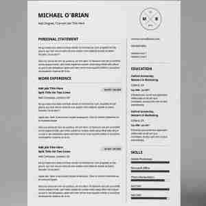 Minimalist, black and white, double page, basic but professional resume design template.