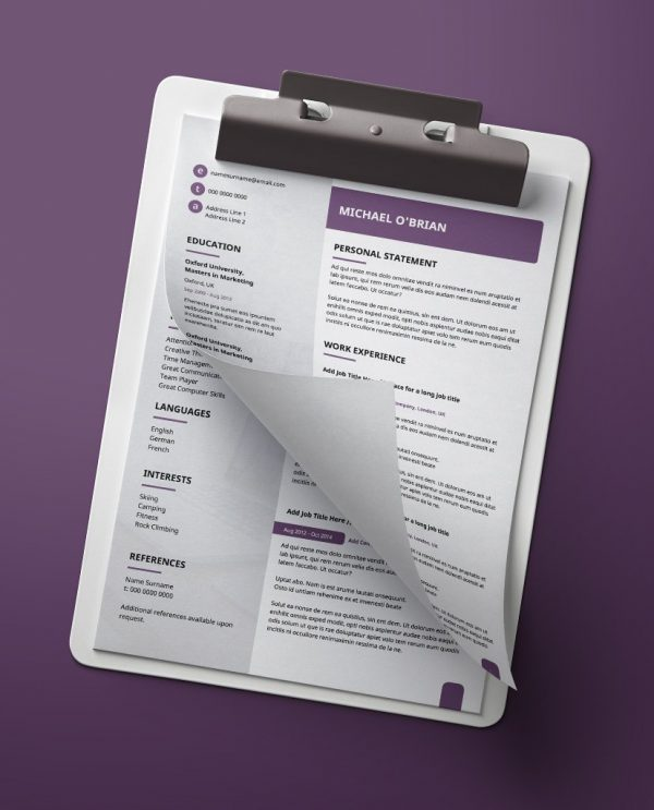 Modern, purple , white, and light grey, double page job resume PDF template.