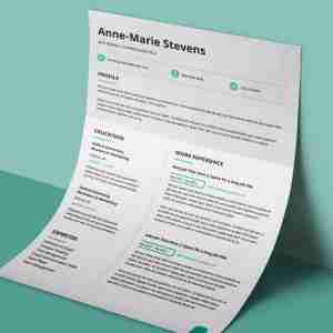 White, light grey, and cyan, double page, editable resume template PDF.