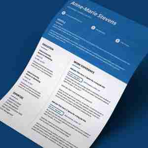 Modern, blue and white, double page, editable CV template.