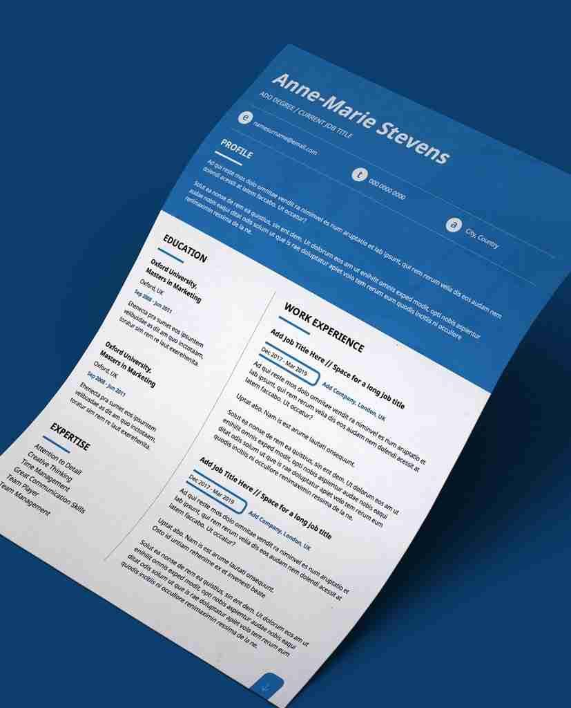Editable Cv Template In Pdf Blue Header Modern 2 Page Resume