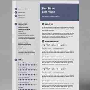 slate blue, grey and white editable resume template