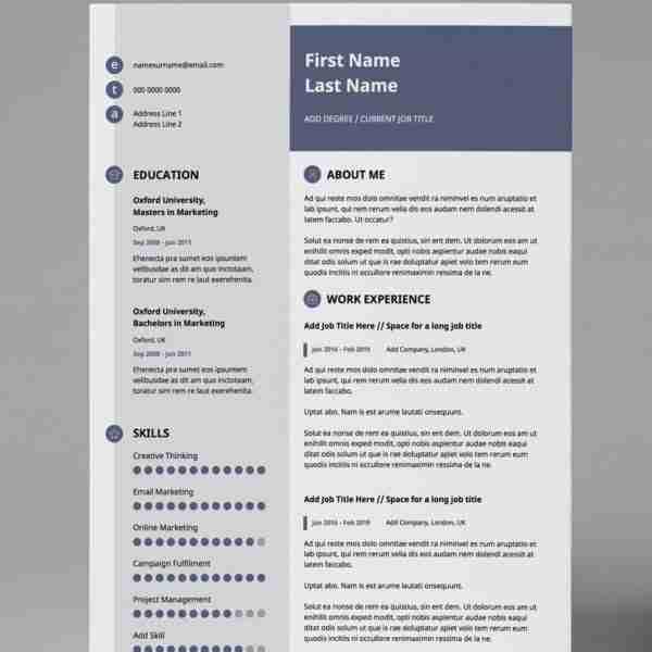 Editable Resume Template Slate Blue 2 Page Editable Pdf Template