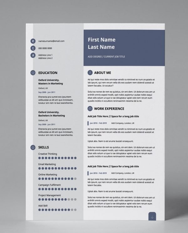 slate blue, grey and white editable resume template