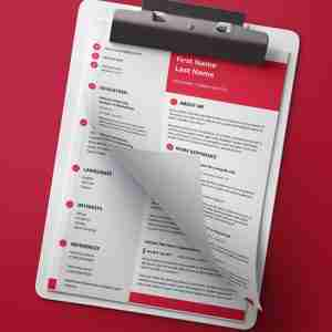 Modern, red, light grey, and white, double page resume template.