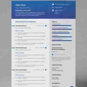 A blue and white single page modern resume template from a collection of cv designs.