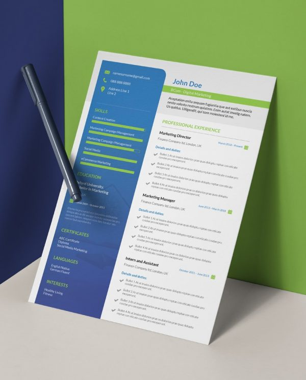 modern green and blue single page resume template