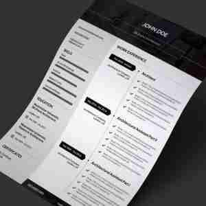 Minimalist black and white single page PDF resume template.