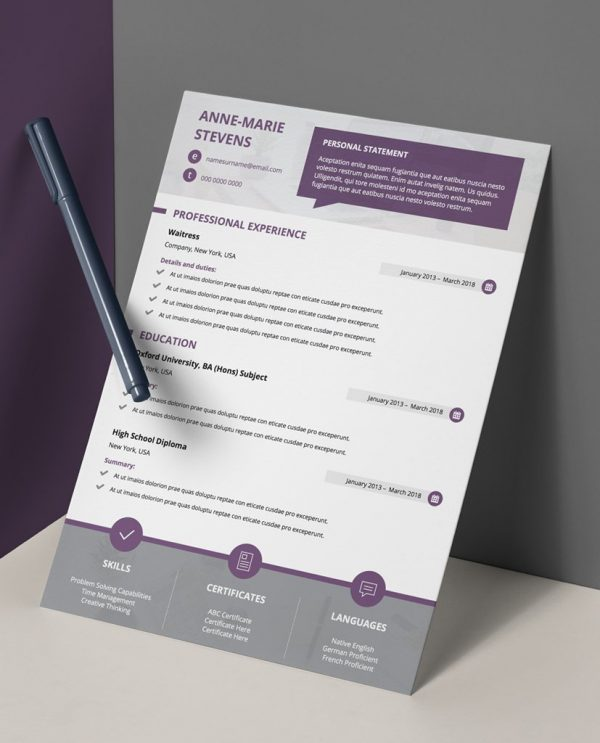 Plum, white, and grey, 1 page cv template.