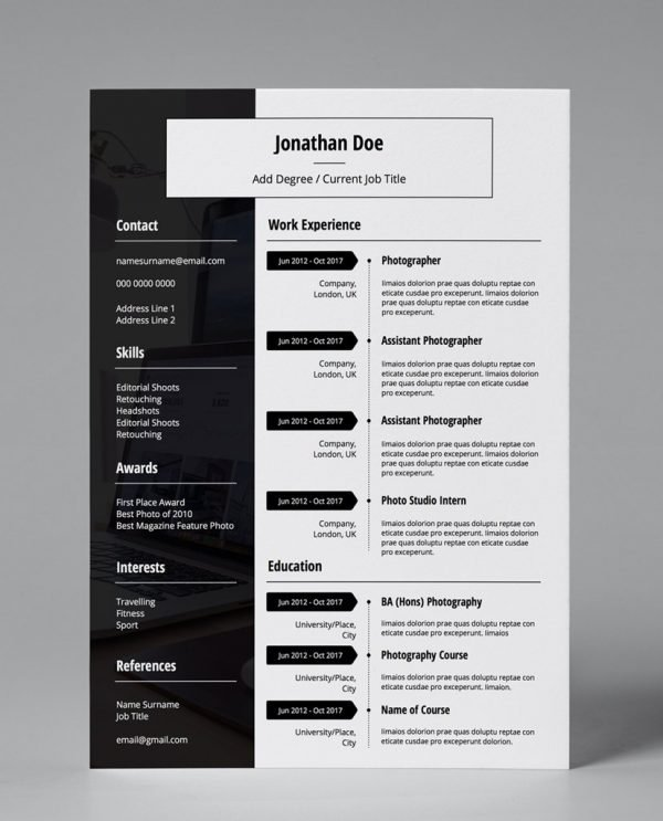 minimalist black and white single page modern cv template