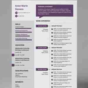 Plum, white, and grey, single page, premium resume template.