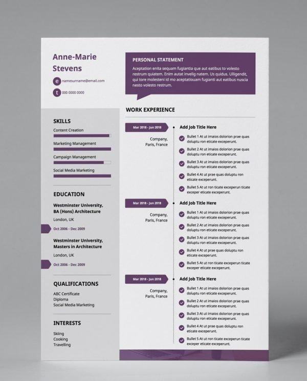 Plum, white, and grey, single page, premium resume template.