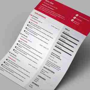 red and white, modern, single page, best resume templates.