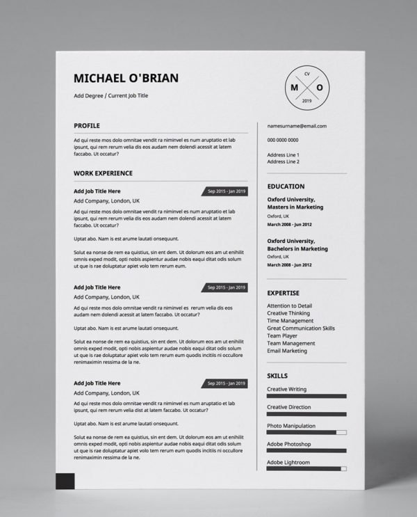Black and white, minimalist, 1 page resume template download.