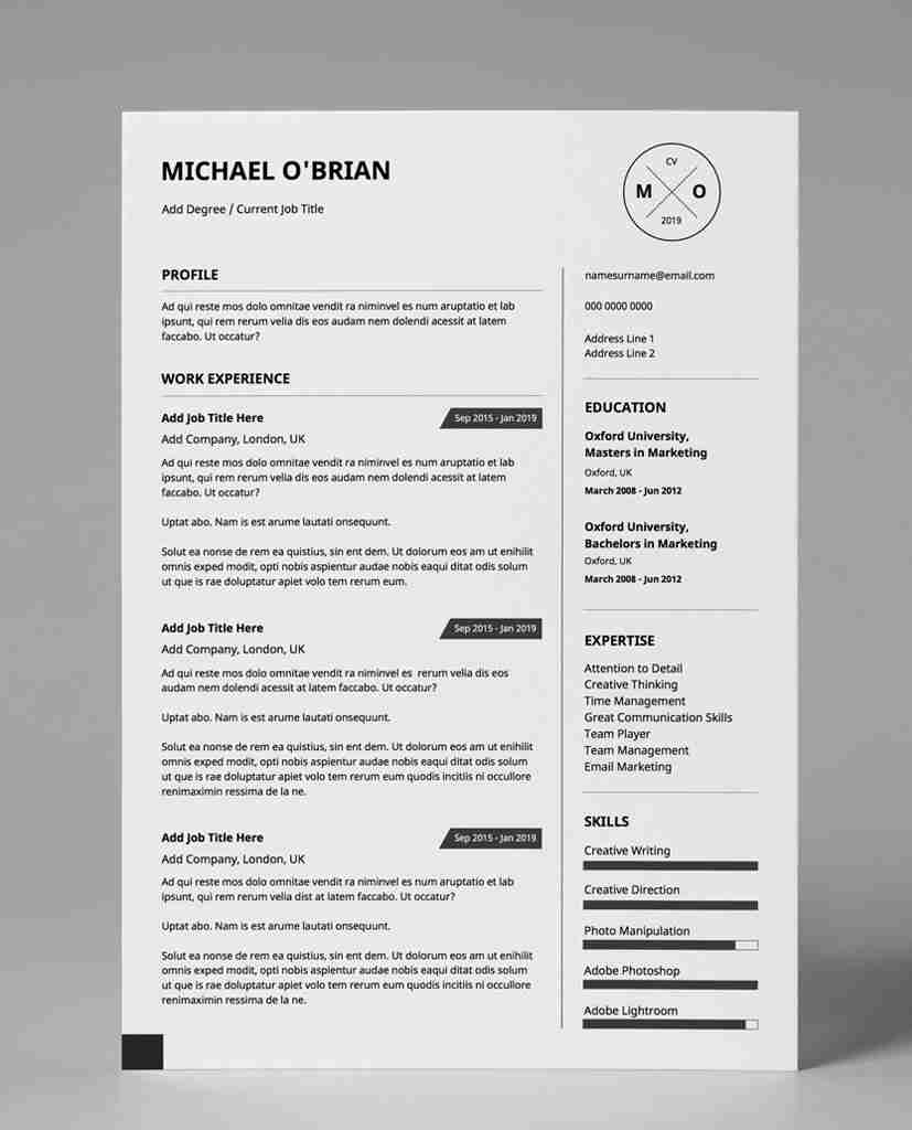 Resume Template Download Minimalist Basic Monochrome 1 Page Pdf