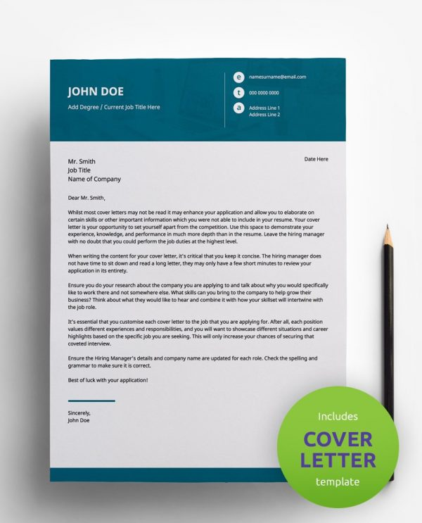 Diy My Design professional teal and white PDF cover letter template and a round green banner stating that the pack includes a cover letter with the CV resume template.