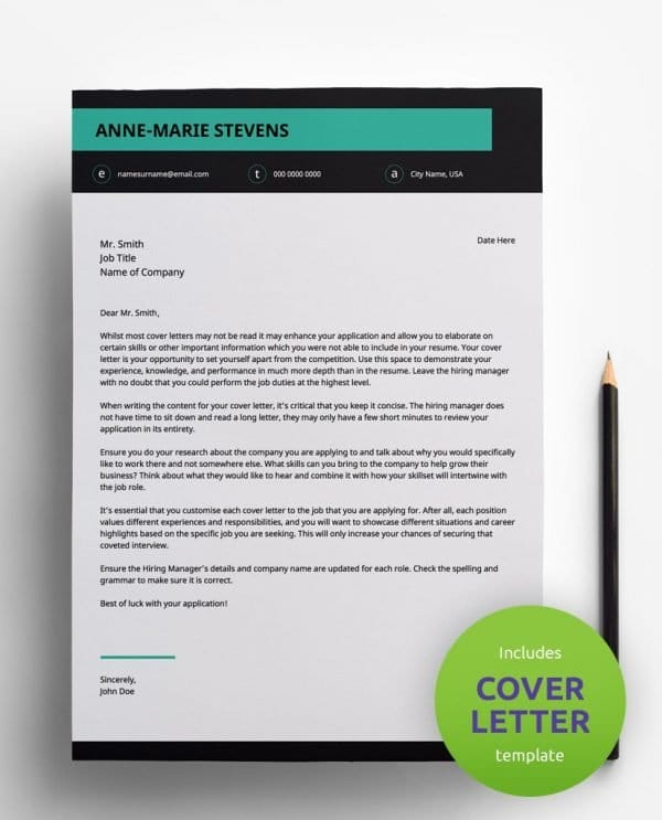 Diy My Design modern teal, white and black PDF cover letter template and a round green banner stating that the pack includes a cover letter with the CV resume template.