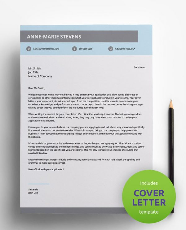 Diy My Design modern pastel, white and grey PDF cover letter template and a round green banner stating that the pack includes a cover letter with the CV resume template.