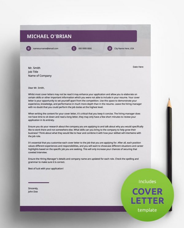Diy My Design modern violet, white and grey PDF cover letter template and a round green banner stating that the pack includes a cover letter with the CV resume template.