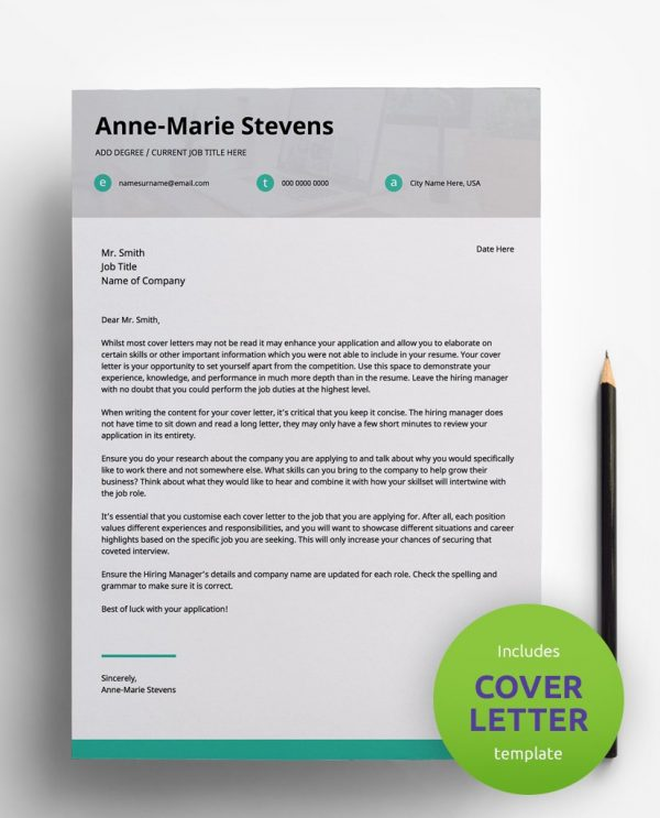 Diy My Design minimalist teal, white and grey PDF cover letter template and a round green banner stating that the pack includes a cover letter with the CV resume template.