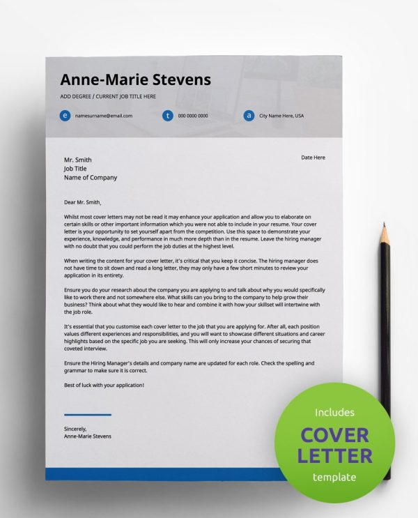 Diy My Design minimalist blue, white and grey PDF cover letter template and a round green banner stating that the pack includes a cover letter with the CV resume template.