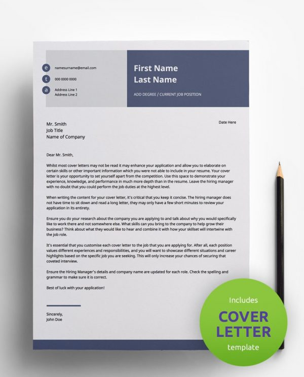 Diy My Design navy blue, white and grey PDF cover letter template and a round green banner stating that the pack includes a cover letter with the CV resume template.