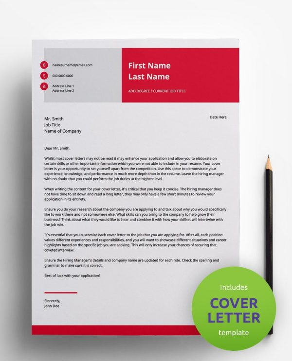 Diy My Design red, grey and white PDF cover letter template and a round green banner stating that the pack includes a cover letter with the CV resume template.