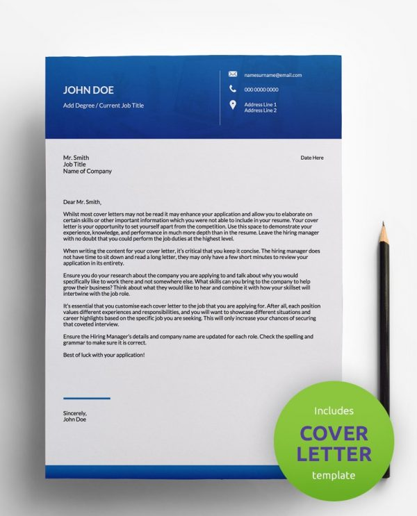 Diy My Design blue and white PDF cover letter template and a round green banner stating that the pack includes a cover letter with the CV resume template.