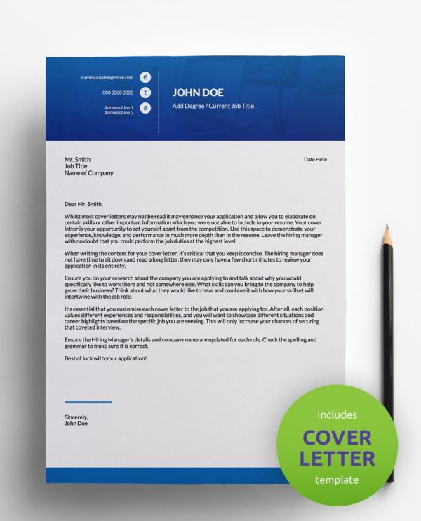 Diy My Design blue and white PDF cover letter template and a round green banner stating that the pack includes a cover letter with the resume template.
