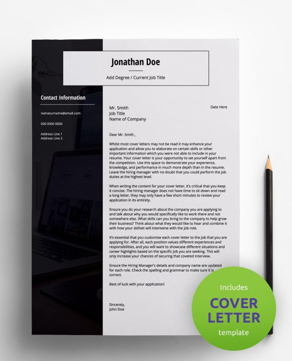 Diy My Design black and white PDF cover letter template and a round green banner stating that the pack includes a cover letter with the resume template.