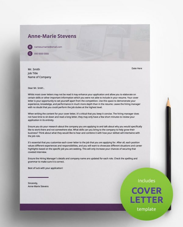 Diy My Design purple, white and grey PDF cover letter template and a round green banner stating that the pack includes a cover letter with the CV template.