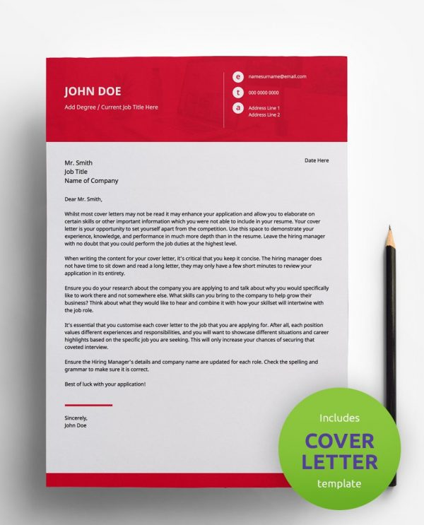Diy My Design professional red and white PDF cover letter template and a round green banner stating that the pack includes a cover letter with the CV resume template.