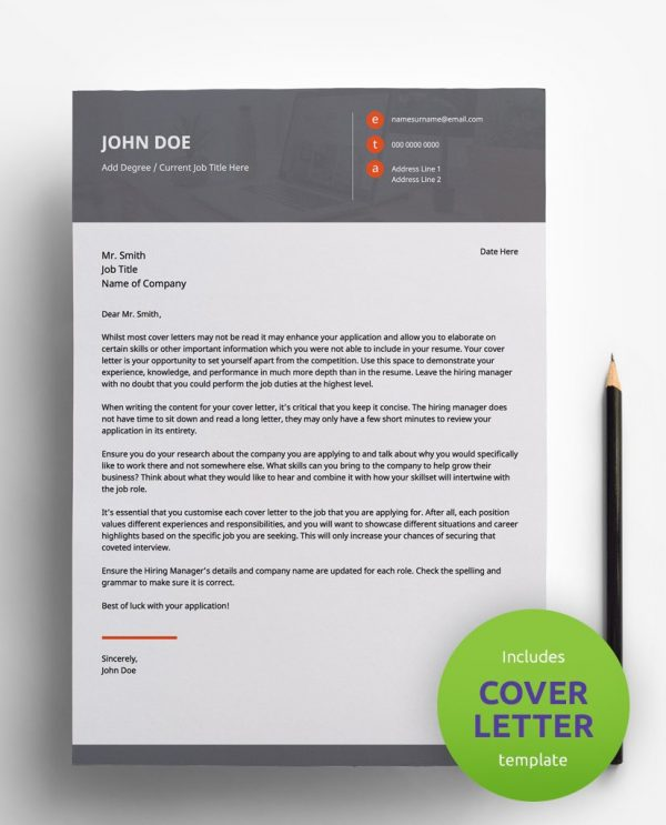 Diy My Design minimalist pinkish red, white and grey PDF cover letter template and a round green banner stating that the pack includes a cover letter with the CV resume template.