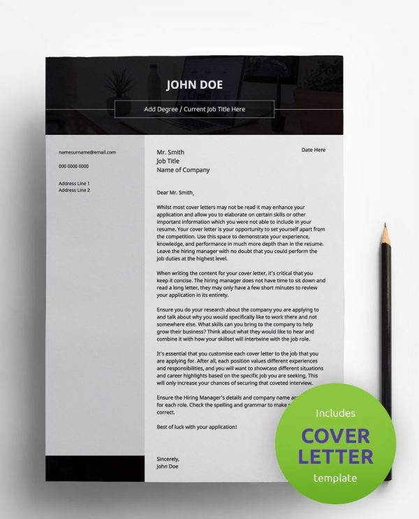 Diy My Design professional black, white and grey PDF cover letter template and a round green banner stating that the pack includes a cover letter with the CV resume template.