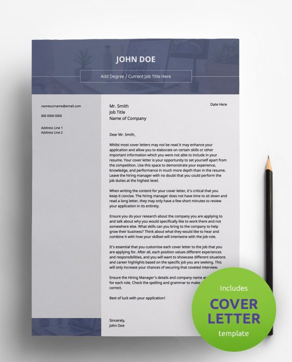 Diy My Design modern navy blue, white and grey PDF cover letter template and a round green banner stating that the pack includes a cover letter with the CV resume template.