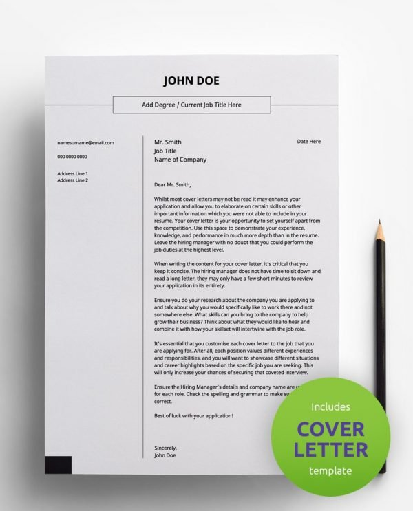 Diy My Design basic simple monochrome PDF cover letter template and a round green banner stating that the pack includes a cover letter with the CV resume template.